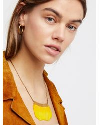 Free People - Yellow Serefina Feather Fan Necklace - Lyst