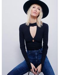 Free People - Black Double Dot Turtle Neck - Lyst