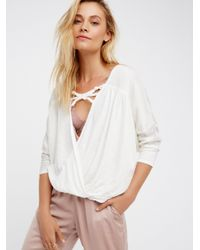 Free People | White Double Knot Top | Lyst