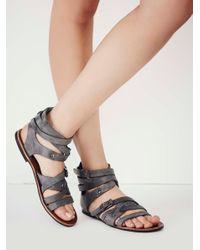 Free People - Gray Durango Metal Gladiator Sandals - Lyst