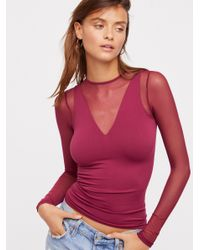 Free People - Red Seamless & Mesh Layering Top - Lyst