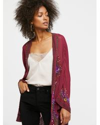 Free People - Red Time To Shine Embellished Kimono - Lyst