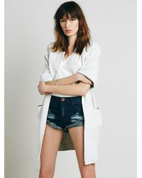 Free People - Blue Bandit Denim Shorts - Lyst