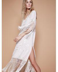 Free People | White Ella Fringe Midi Dress | Lyst
