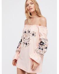 Free People | Pink Enchanted Garden Mini Dress | Lyst