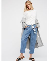 Free People | Blue Everyday Chambray Pull-on Pants | Lyst