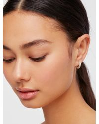 Free People - Metallic Hex Huggie Hoop Earrings - Lyst