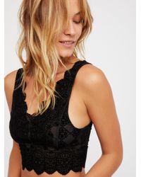 Free People - Black Falling Deeply Flocked Brami - Lyst