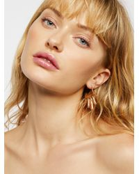 Free People - Metallic Icicle Raw Quartz Hoop Earrings - Lyst