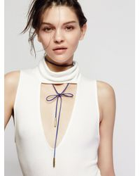 Free People | Blue Flawed Leather Wrap Bolo | Lyst