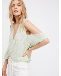 Free People | Green Fp One Gauze Indus Top | Lyst