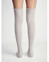 Free People - Natural Fray Ii Pointelle Over The Knee Sock - Lyst