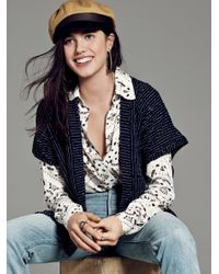 Free People | Blue Ruffle Pattern Cardi | Lyst