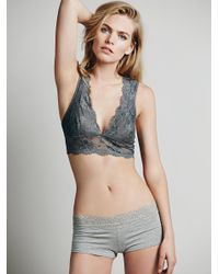 Free People - Gray Galloon Lace Deep V Bra - Lyst