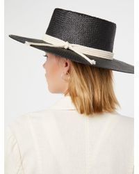 Free People | Black Garden Grove Straw Boater | Lyst