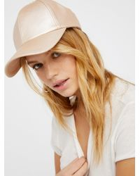 Free People | Brown Gramercy Vegan Leather Baseball Hat | Lyst