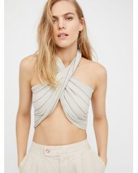 Free People | White Great Length Striped Scarf | Lyst