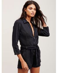 Free People | Black Green River One Piece | Lyst
