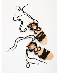 Free People | Black Hemingway Wrap Sandal | Lyst