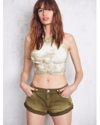 Free People - Green High Neck Seamless Crop - Lyst