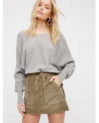 Free People   Gray High Waist Military Skirt   Lyst