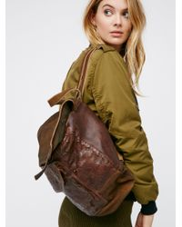 Free People | Brown Jennifer Leather Backpack | Lyst