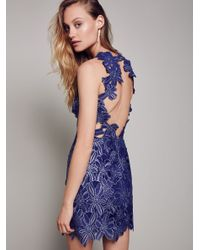 Free People | Blue Jessa Foil Lace Dress | Lyst