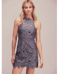 Free People | Gray Jessa Foil Lace Dress | Lyst