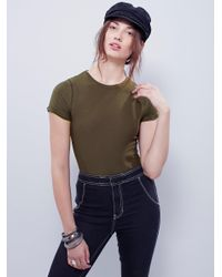 Free People - Green Keeping Up Bodysuit - Lyst