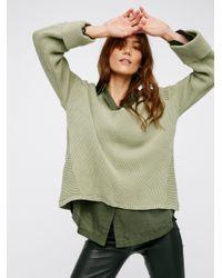 Free People | Green La Brea V-neck Sweater | Lyst