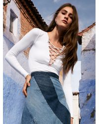 Free People | White Lace Up Layering Top | Lyst