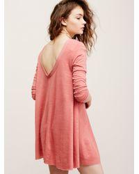 Free People | Red Long Sleeve Swing Dress | Lyst