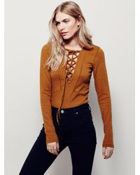 Free People | Natural Lucky Lace Up Top | Lyst