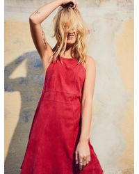 Free People | Red Meet In The Middle Suede Dress | Lyst