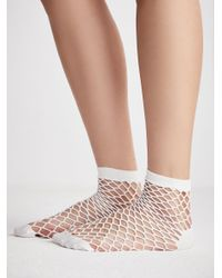 Free People | White Mood Fishnet Anklet | Lyst