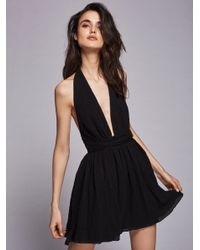 Free People | Black Nadja Halter Dress | Lyst