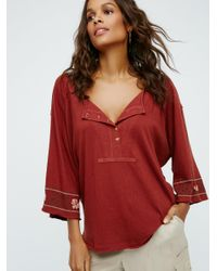 Free People | Red Nomad Henley | Lyst