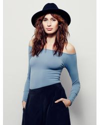 Free People | Blue Off The Shoulder Solid Top | Lyst