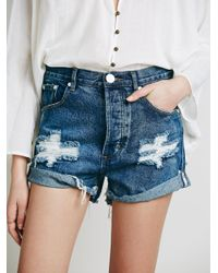 Free People | Blue Outlaw Boyfriend Short | Lyst
