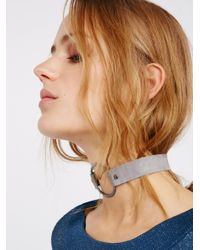 Free People | Gray Pave Ring Suede Choker | Lyst