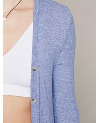 Free People - Blue Ribbed Up Maxi Cardigan - Lyst