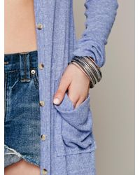 Free People | Blue Ribbed Up Maxi Cardigan | Lyst