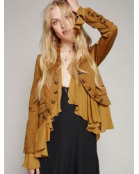Free People | Black Romantic Ruffles Jacket | Lyst