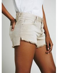 Free People - Brown Runaway Slouch Cutoffs - Lyst