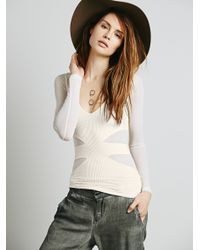 Free People | White Layering Me Long Sleeve Top - Black | Lyst