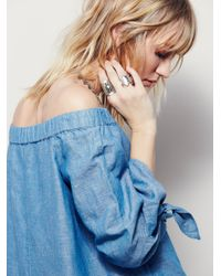Free People | Blue Show Some Shoulder Top | Lyst