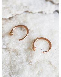 Free People | Metallic Small Ear Hugging Hoops | Lyst