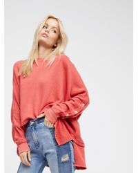 Free People | Red Snap Up Shoulder Pullover | Lyst