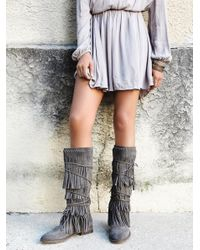 Free People | Gray Songbird Fringe Boot | Lyst
