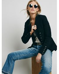Free People | Black Structured Washed Blazer | Lyst